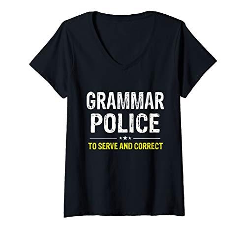 Womens Grammar Police Women and Kids Funny Costume Idea V-Neck T-Shirt