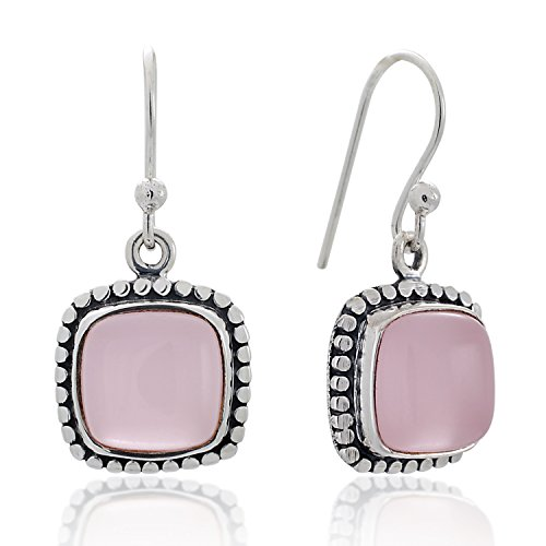 925 Sterling Silver Rose Quartz Gemstone Dotted Edge Vintage Square Dangle Hook Earrings 1.2
