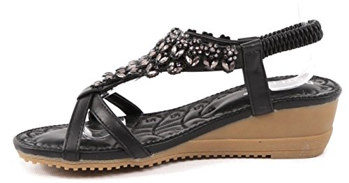 SHU CRAZY Womens Ladies Diamante Open Toe Summer Fashion Gladiator Holiday Beach Sandals Shoes - M76 Black asZAoUPxf