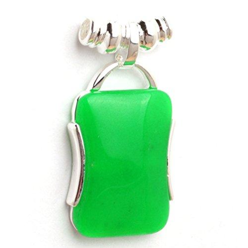 Fashion Jewellry GEM-Inside 22x42mm Rectangle Dyed Green Jade Beads Tibetan Silver Base Pendant