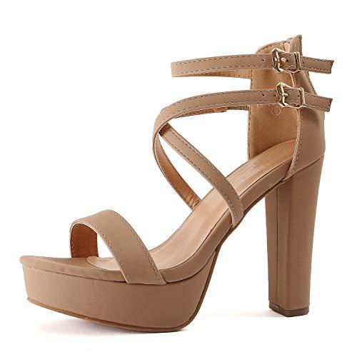 - Guilty Shoes Womens Platform Ankle Strap High Heel - Open Toe Sandal Pump - Formal Party Chunky Dress Heel Sandals (8 M US, Tanv1 Nub)