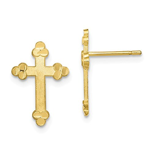 Mia Diamonds 10k Yellow Gold Budded Cross Earring (16mm x (Gold Plate Budded Cross)