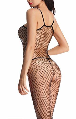 Amoretu Fence Net Crotchless Bodystocking Plus Size Lingerie for Women Underwear