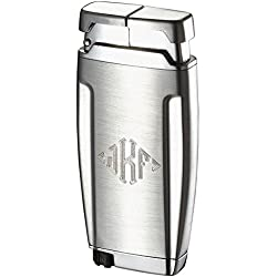 Personalized Gemini Brushed Chrome Single Wind-Resistant Torch Flame Lighter Free Monogramming