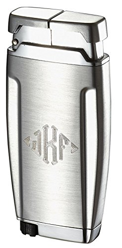 (Personalized Gemini Brushed Chrome Single Wind-Resistant Torch Flame Lighter Free Monogramming)