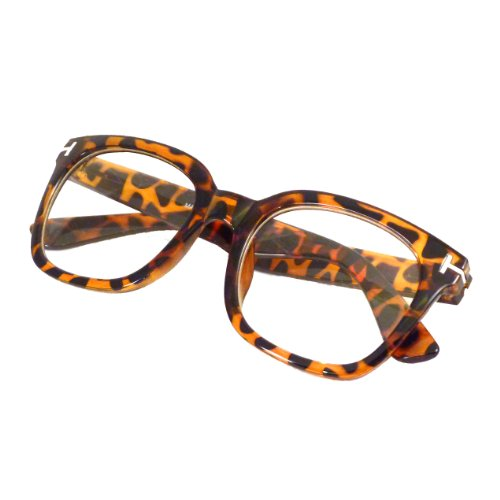 RETRO Designer Style Oversized Thick Frame Clear Lens Eyeglasses TORTOISE