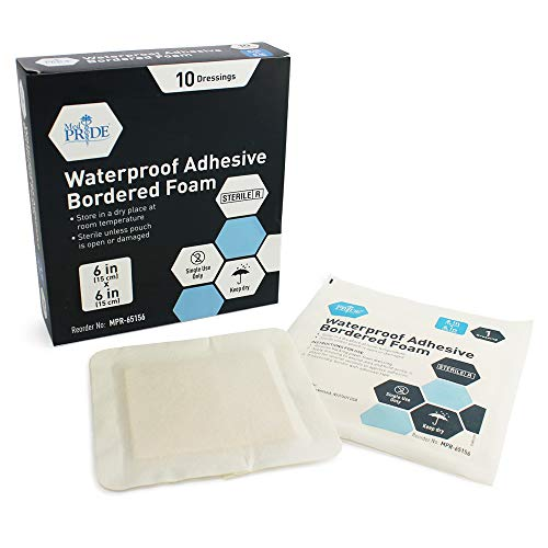 Medpride 6'' X 6'' Foam Wound Dressing (10-Count) Sterile, Waterproof Silicone Adhesive Border | Home or Emergency Healing Support | Partial or Shallow Drainage Coverage | Gentle