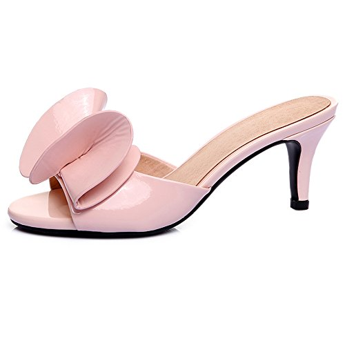 f2a64983d479 SUNROLAN April Women s Leather Stiletto Pump Sandal Open Toe Bowknot Accent  Slide Dress Low Heel Sandals