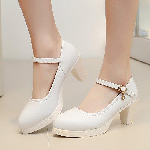 impermeabile scarpe elevata alto bianco tacchi scarpe Tirante singolo tacco con con alti donna spesso modello asolato 5cm ragazza 43 naturale x50wWqUYA