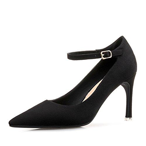 Vestir Mujer de Desconocido Piel negro Welldone2017 Para Zapatos de v4tw4UORq