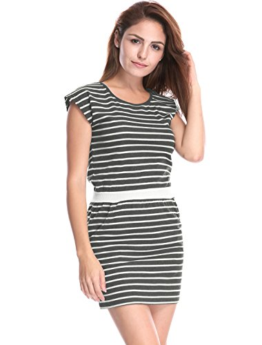 Mini Waist White Pockets Women's Contrast Dress K Neck Gray Allegra Stripes Round 80Yw4Pq