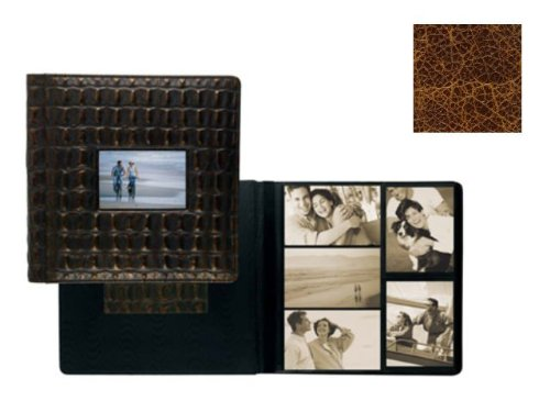 VINTAGE COGNAC fine-grain leather #113 window album with 5-at-a-time pages by Raika - 4x6 by Raika®