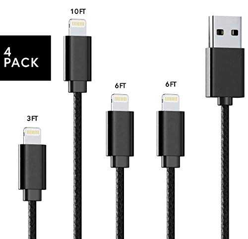 Apple Device & iPhone Charger Pack: 3 ft, 6 ft and 10 ft Nylon Braided USB Charging and Data Transfer Cable Bundle - Fast Lightning Cord Chargers to Fit Various i Phone, iPad and iPod Models (Black)