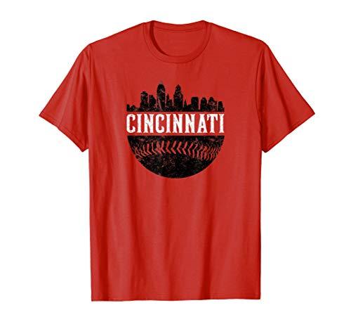Cincinnati Ohio City Skyline Baseball Retro Vintage - Cincinnati Shirt Reds