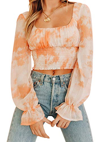- CANIKAT Women's Fashion Casual Square Neck Chiffon Shirts Long Sleeve Tie Dye Flowy Ruffle Frill Smocked Blouses Tops Orange XL