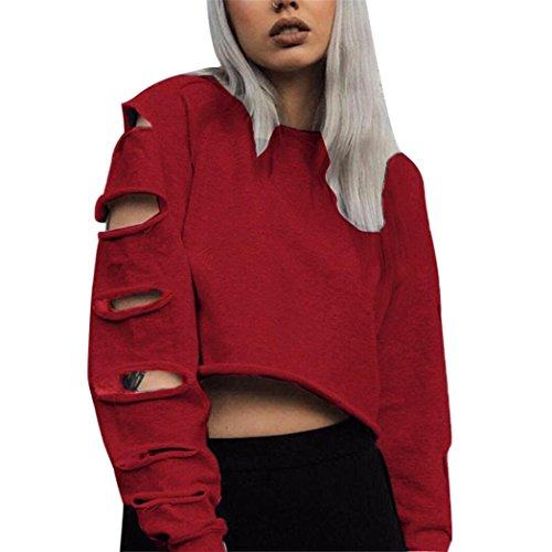 Sunfei Women Autumn Long Sleeve Hollow Hole Short Sweater Shirt Blouse Tops (L, Red) by Sunfei