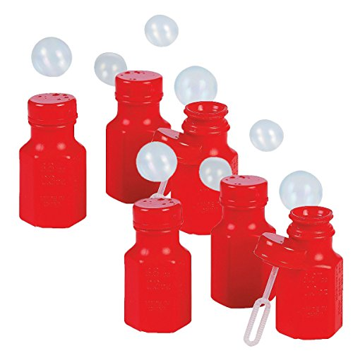 Fun Express Mini Hexagon Red Bubble Bottles (8 Dozen) by Fun Express Inc.