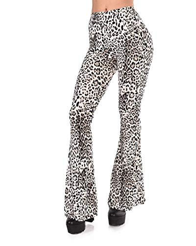 iHeartRaves Black & White Leopard Lady Bell Bottoms Pants -