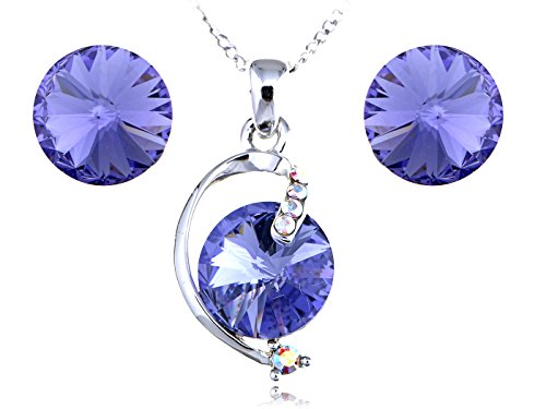 Alilang Violet Sapphire Swarovski Crystal Circle Stones Earring Necklace Set