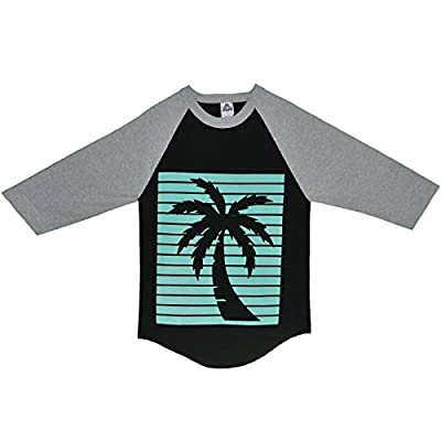 ShirtBANC Aqua Palm Tree Outline Raglan | .com