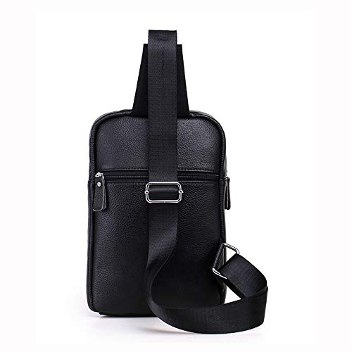 Bag Messenger Colors Leather Black Shining Casual Chest Kids Men's Two Genuine Optional qgz6t0Z
