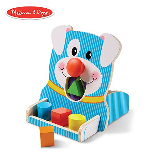 - Melissa & Doug First Play Wooden Spin & Feed Shape Sorter