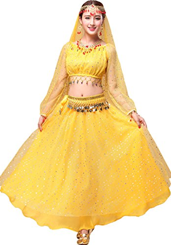 Astage Women's Belly Dance Costume Long Sleeve Tops with Skirt All Accessories from Astage