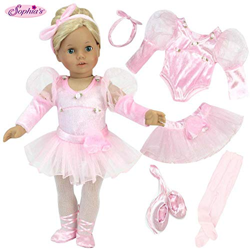 Sophia's 18 inch Doll Clothes 5 Pc. Ballet Set fits American Girl Doll | Velour Headband, Pink Doll Ballet Slippers, Pink Doll Tights, Tutu & Pink Velour Leotard |Doll Sold Separately (American Ballerina Doll)