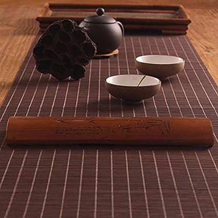 weike Drapeau de Table Table Non-tiss/ée de Fleurs Nattes de Bambou Japonais Rideaux de Table de Coureurs Nappe Kung Fu Tea Set Accessoires D/écoration Nappe caf/é,caf/é,10x100cm