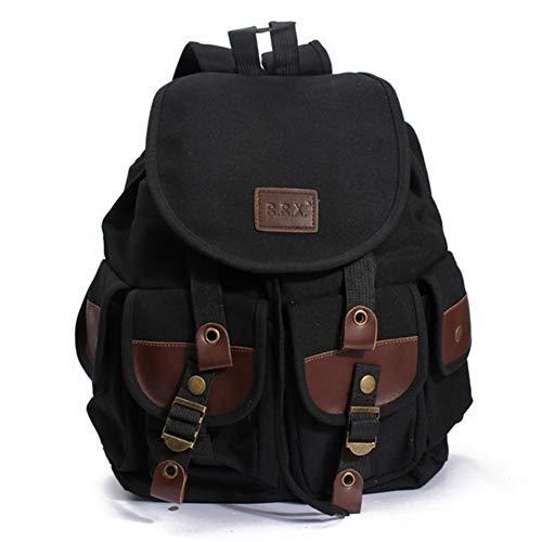 Canvas Vintage Backpacks, Popoti Women Men School Backpack Rucksack bag Unisex Daypacks Laptop Backpack for Outdoor Sports Traveling Hiking Large Capacity Bookbag (Black, 29 13 37cm) ()