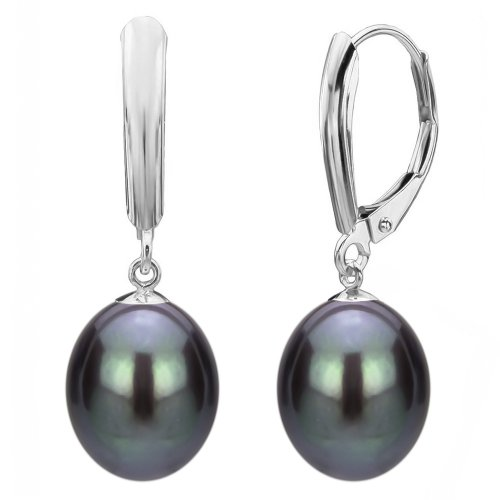 Freshwater Cultured Black Pearl Earrings Sterling Silver Leverback Birthday Gift 9-9.5mm