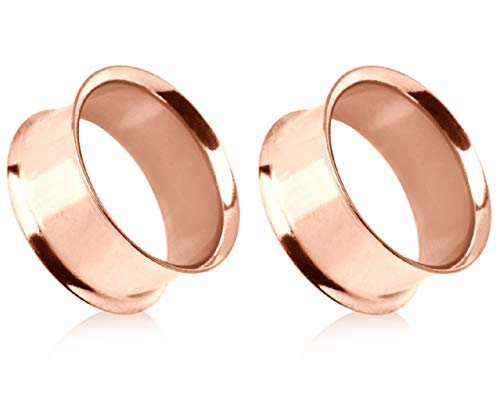 Pierced Owl Rose Gold Plated Stainless Steel Double Flared Tunnel Plug Earrings, Sold as a Pair (25mm (1
