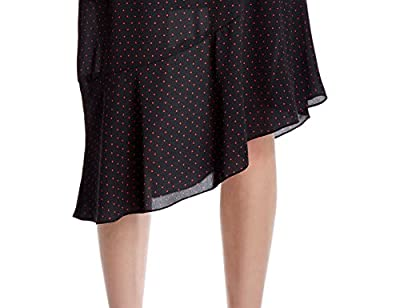 Essentialist Women's-Sleeveless Polka Dot Dress with Asymmetric Hem