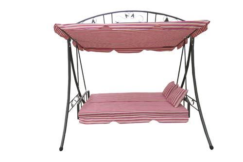 Amaze Steel Garden Swing Seat Cum Bed with Holder Frame- Pink