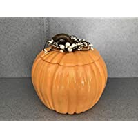 Ceramic Large Orange Pumpkin Cookie jar, Thanksgiving, Autumn, and Fall decoration