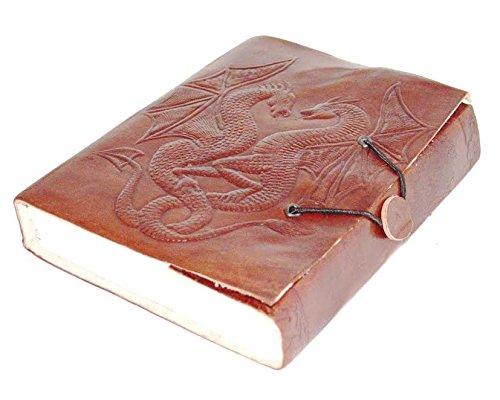 Zap Impex®, diario in pelle fatto a mano con elastico e pagine bianche, con due draghi (17,8 x 12,7 cm) Zap Impex® Zap Impex ®