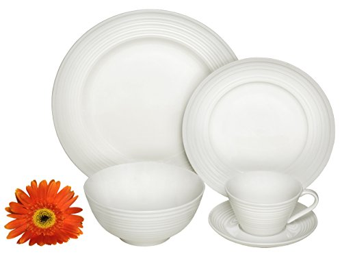 Oven Cups Safe Saucers (Melange 40-Piece Porcelain Dinnerware Set (Classic Swirl) | Service for 8 | Microwave, Dishwasher & Oven Safe | Dinner Plate, Salad Plate, Soup Bowl, Cup & Saucer (8 Each))