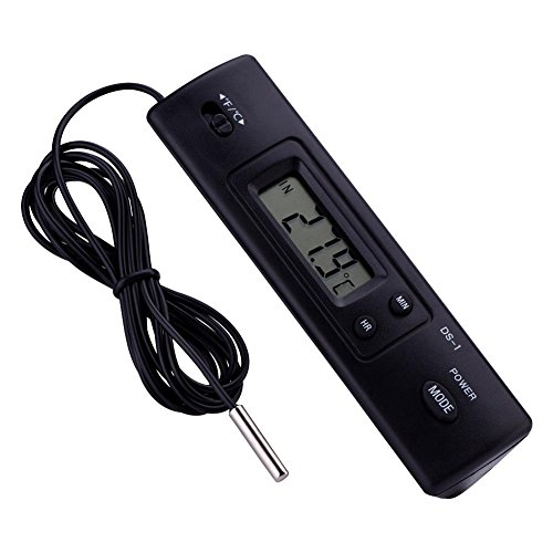Electronic LCD Digital Temperature Meter, Thermometer Probe Sensor with Large LCD Display Wired for Refrigerator