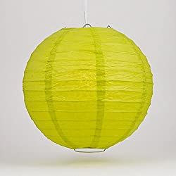 "Quasimoon PaperLanternStore.com 16"" Chartreuse Even Ribbing Round Paper Lantern (10 Pack)"