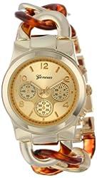 Geneva Women's 2379-Gold/Tort-GEN Oversized Interlocked Chain Band Watch