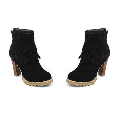 Black Chunky Zipper Tassels amp;N Boots Ladies Heels A Frosted nqwE7xR8n6