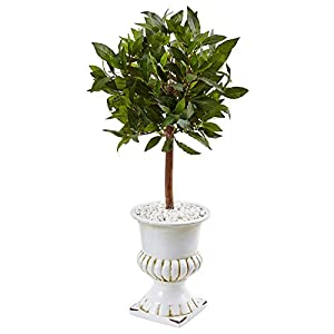 Nearly Natural 2.5' Sweet Bay Mini Topiary Artificial Tree Green 28