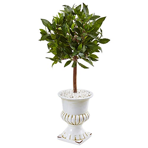 Nearly Natural 2.5' Sweet Bay Mini Topiary Artificial Tree, - Topiary Sweet Bay