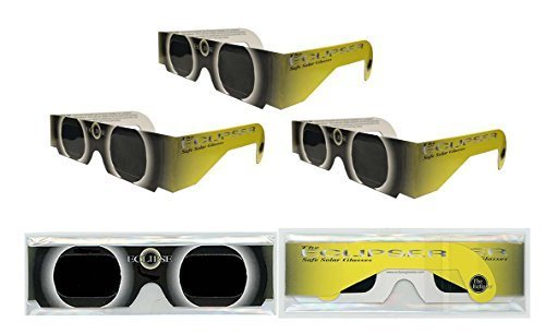 Solar Eclipse Glasses   Iso Certified  Ce Approved   3 Pairs    Yellow Sun    Solar Shades