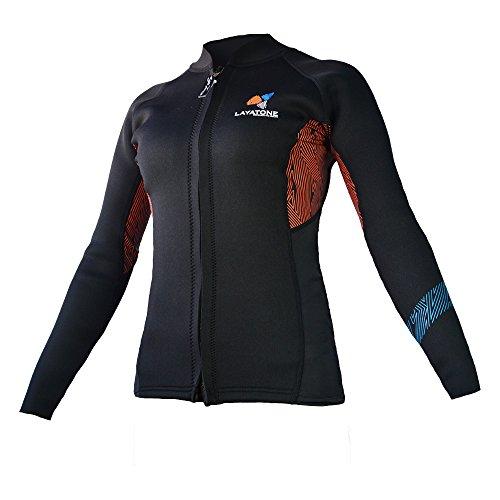 Layatone Wetsuit Top for Women Premium 3mm Neoprene Diving Suit Jacket - Long Sleeves Front Zipper Diving Top Surfing Suit - Keep Warm Snorkeling Scuba Diving Suit Top Jacket - Wet Suit for Women