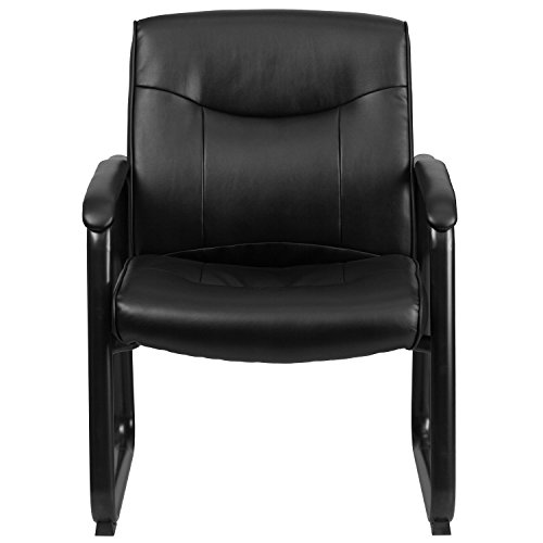 Flash Furniture Hercules Series Big and Tall Leather Executive Side Chair with Sled Base and Padded Arms, 500-Pound, Black by Flash Furniture (Image #3)
