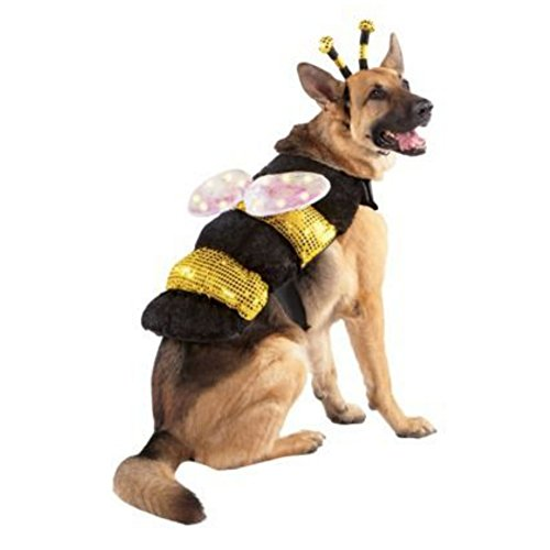 Bumblebee Dog Costumes (Light Up LED Dog Bee Costume Bumblebee Pet Outfit)