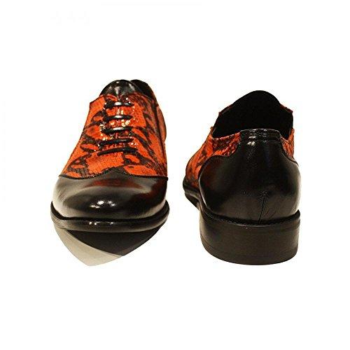 PeppeShoes Modello Inferno - Handmade Italiano da Uomo in Pelle Rosso Scarpe da Wingtip - Pelle di Capra Pelle Morbido - Scivolare su