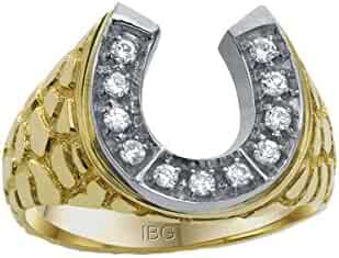 Men's 14k Two-Tone Gold Diamond Horseshoe with Nugget Sides Ring (1/5 cttw, H-I Color, I1-I2 Clarity)