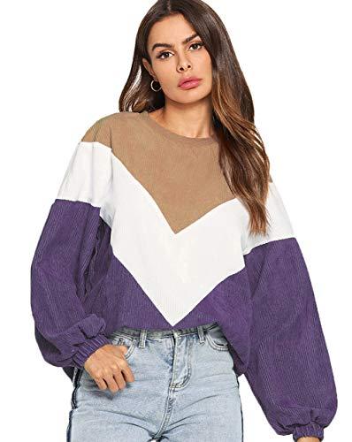 Romwe Women's Loose Colorblock Sweatshirt Lantern Sleeve Round Neck Pullover Tops Purple M